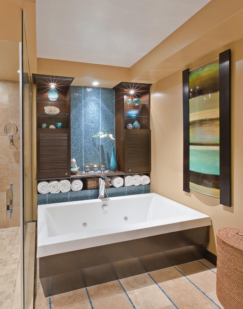 Bathroom - contemporary mosaic tile bathroom idea in Toronto