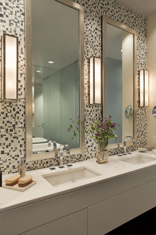 Wall Sconces Above Bathroom Mirror : 10 Stylish Ideas Using Bathroom Mirrors