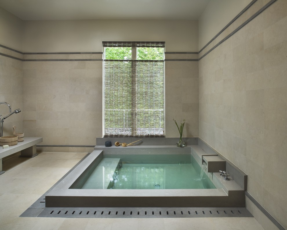 Inspiration for a contemporary japanese bathtub remodel in New York