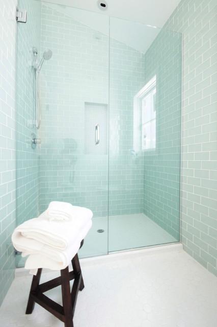 Glass Tiled Bathroom Contemporary Bathroom