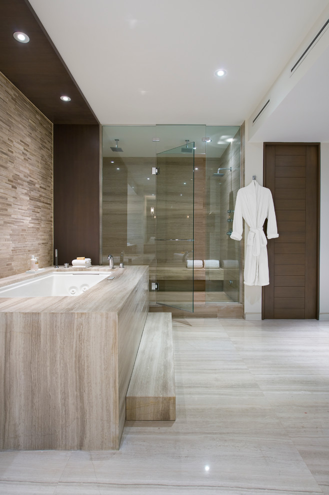 Alcove shower - contemporary brown tile beige floor alcove shower idea in Miami with an undermount tub