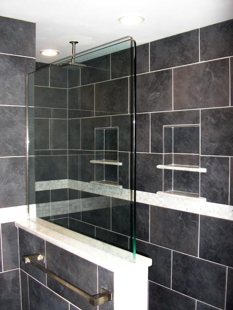 Contemporary Bathroom Custom Shower No Door
