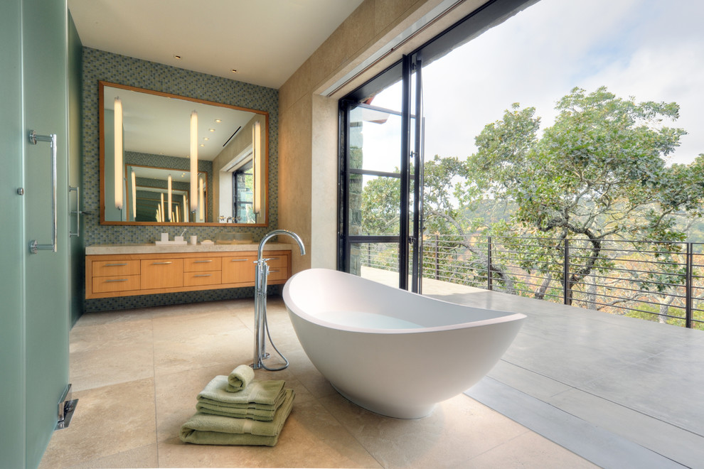 Inspiration for a contemporary freestanding bathtub remodel in San Francisco