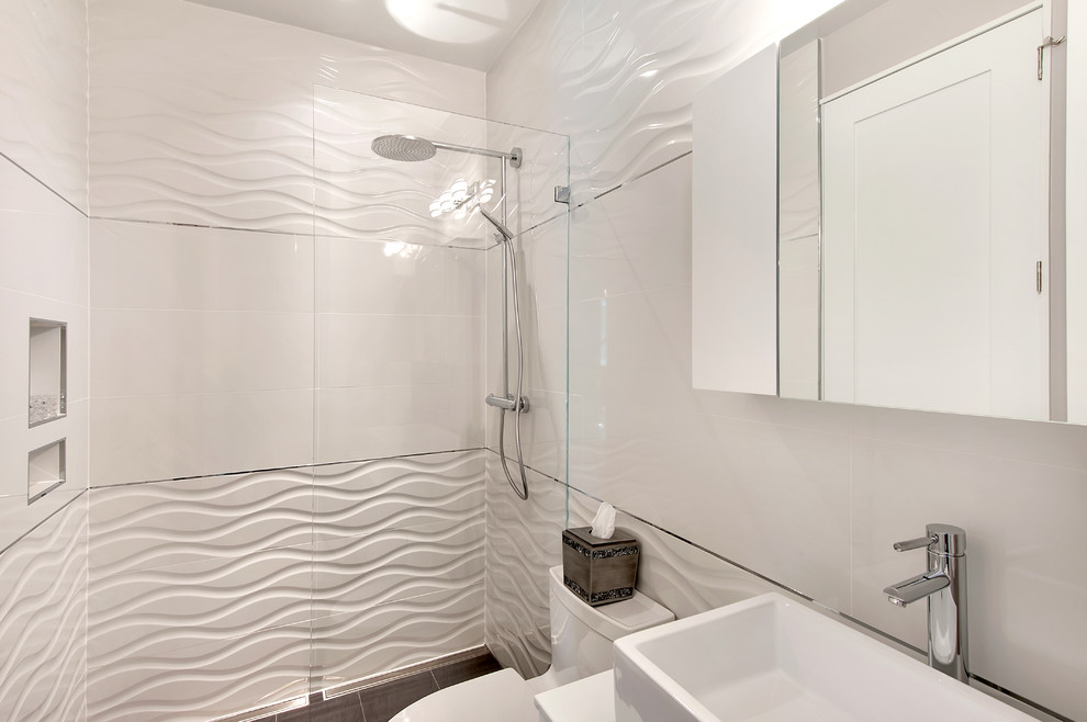 Example of a trendy bathroom design in Other with a vessel sink