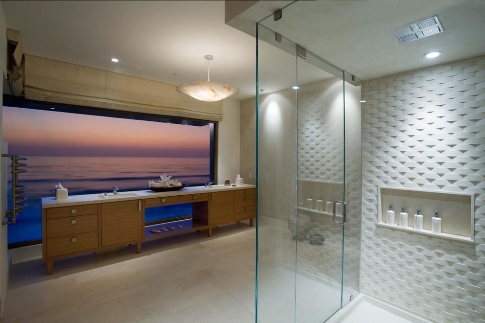 Bathroom - contemporary bathroom idea in Orange County with medium tone wood cabinets