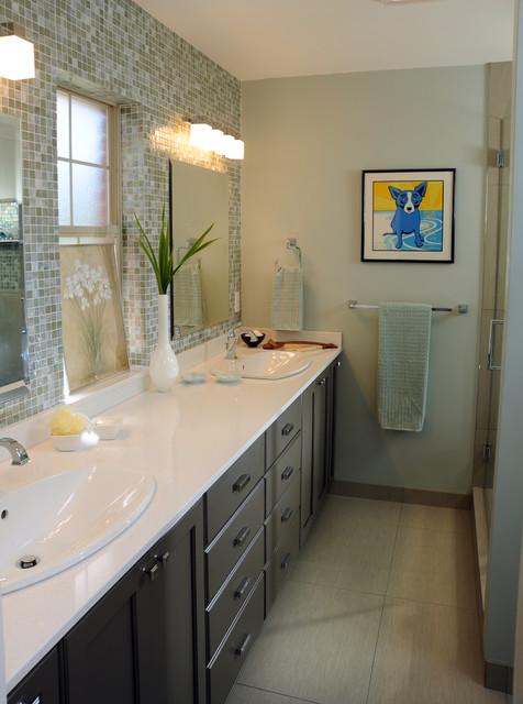 Typical ranch bath transformed for Modern ranch bathroom