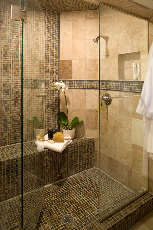 What is the brand of the mosaic tile used in this shower?