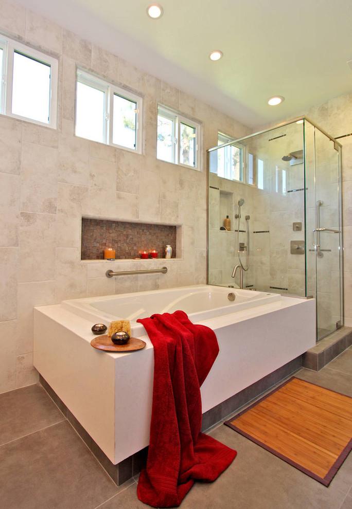 Trendy mosaic tile bathroom photo in San Diego