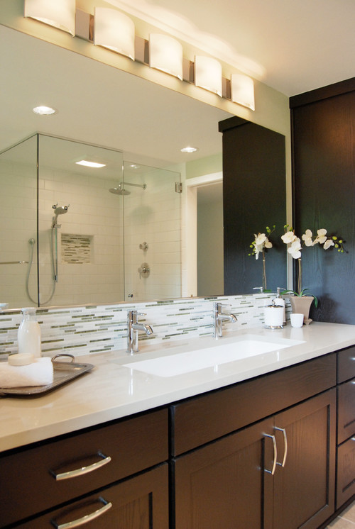 Single Vanity Light Ideas : Anyone have a single trough sink w/2 faucets in master bathroom?