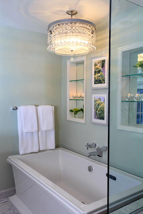 I love the chandelier over the tub but my contractor says he can 39 t do this because it 39 s not up for Contemporary bathroom chandeliers