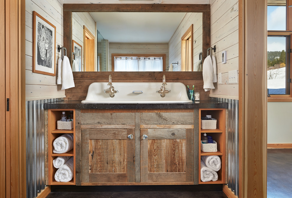Inspiration for a rustic bathroom remodel in Seattle with a trough sink