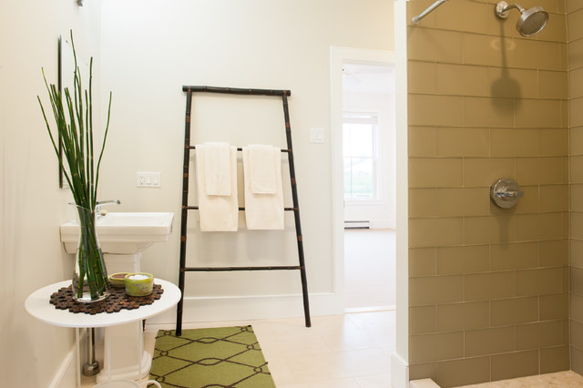 Example of a trendy bathroom design in Boston with a pedestal sink. Buy Bamboo Ladder Towel Holder   Houzz
