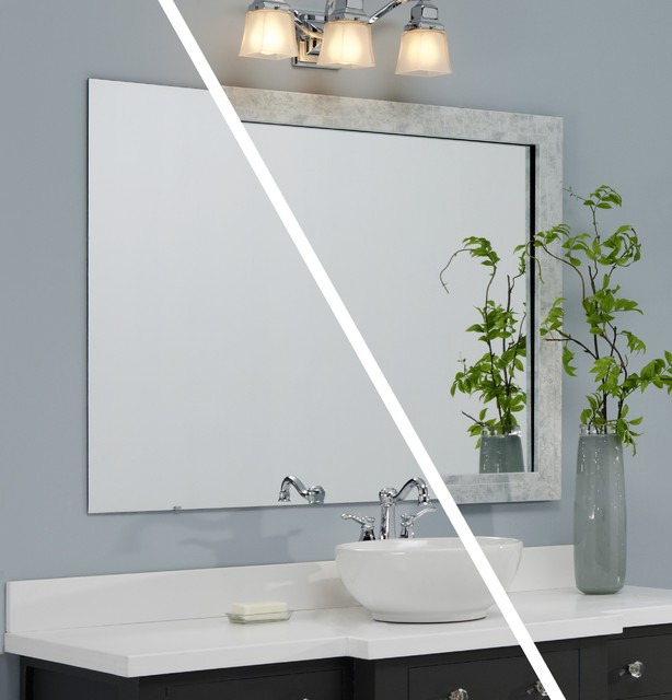 mirrormate frames before afters contemporary bathroom - Mirrormate Frames