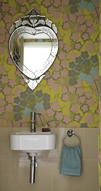 funky wallpapered bathroom   contemporary   bathroom