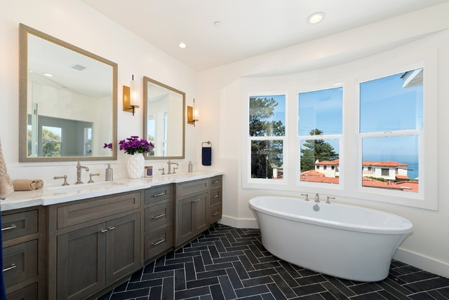 Marvelous  Dark Floored Bathroom Offers Ocean Views From Tub and Shower