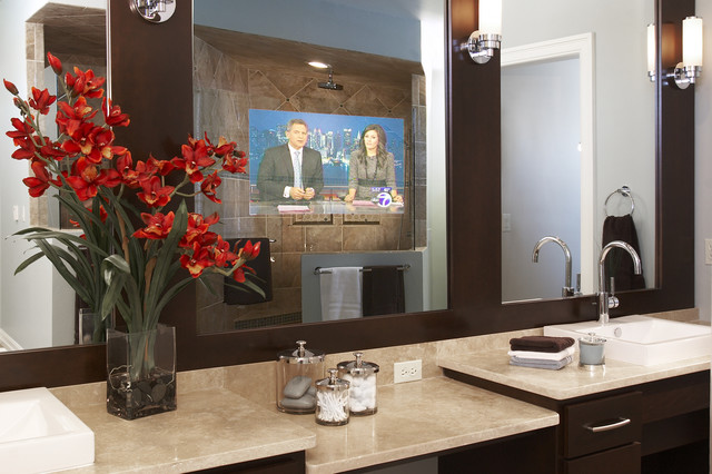 Captivating Séura Vanishing Vanity TV Mirror Contemporary Bathroom