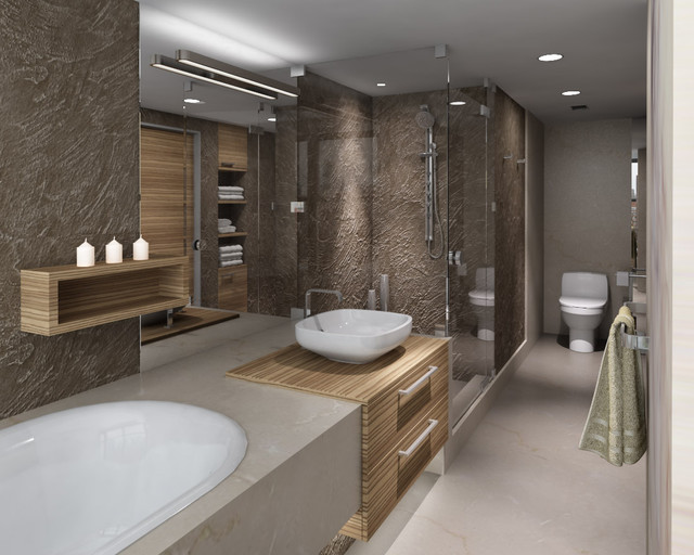 Contemporary bathroom for Small 4 piece bathroom designs