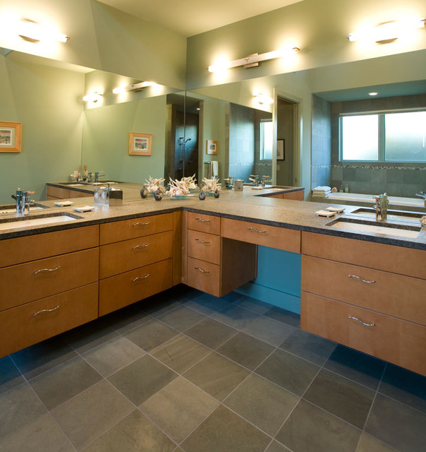 Contemporary Bathroom with Maple Veneer Cabinet Doors ...