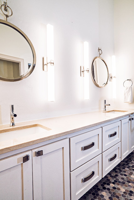 Contemporary bathroom with white cabinets and hexagon for Bathroom cabinets okc