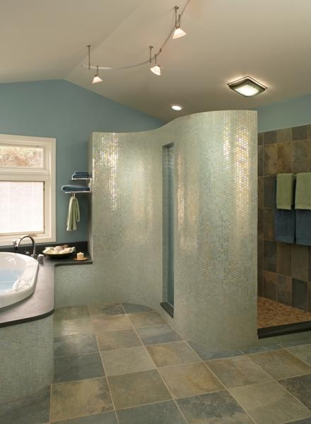 what material is the curved shower wall