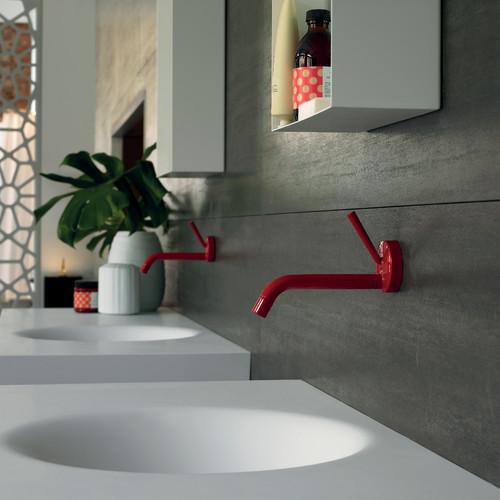 Zucchetti Isy stick, basin taps in red