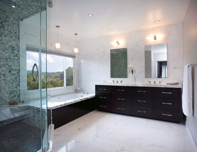 Inspiration For A Contemporary Porcelain Tile Bathroom Remodel In Orange  County With Marble Countertops