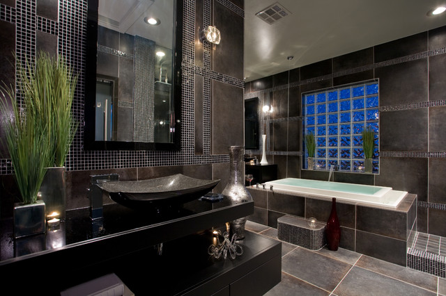 Contemporary black and gray master bathroom contemporary for Black bathroom designs
