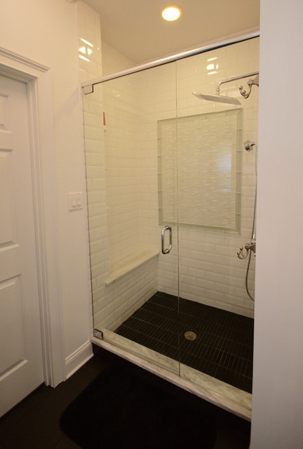 Example of a trendy master white tile and ceramic tile ceramic floor bathroom design in Atlanta with raised-panel cabinets, white cabinets, marble countertops and white walls