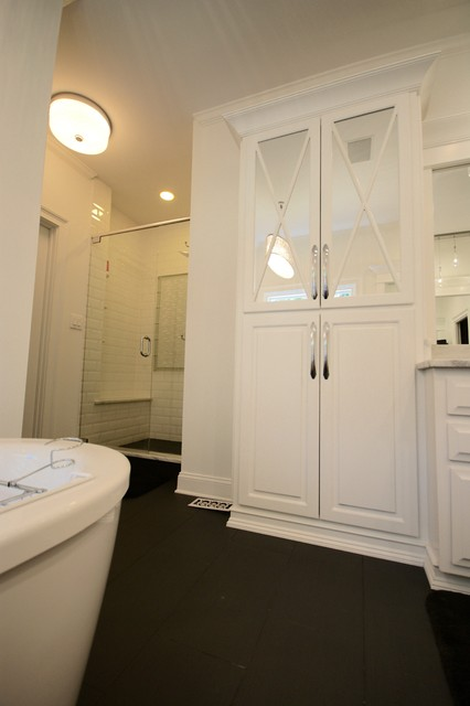 Inspiration for a contemporary master white tile and ceramic tile ceramic floor bathroom remodel in Atlanta with raised-panel cabinets, white cabinets, marble countertops and white walls