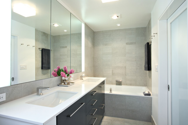 Condo Bathroom Remodel contemporary condo renovation - contemporary - bathroom - los