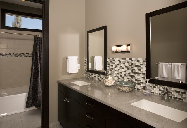 Bon Bathroom   Contemporary Multicolored Tile And Mosaic Tile Bathroom Idea In  Seattle With An Undermount Sink