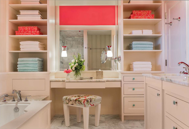 Example of a transitional white tile marble floor bathroom design in Boston with an undermount sink, recessed-panel cabinets, beige cabinets, an undermount tub, marble countertops and multicolored walls