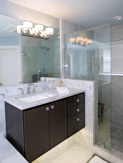 Curtain room dividers - Contemporary Dark Grey Kitchen Amp Bath Traditional Bathroom