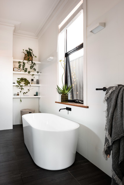 Contemporary Ensuite With Freestanding Bath Scandinavian