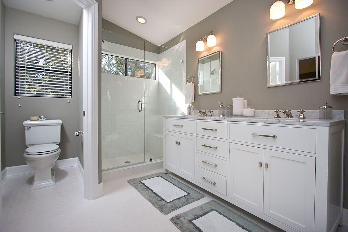 White And Grey Bathroom Houzz