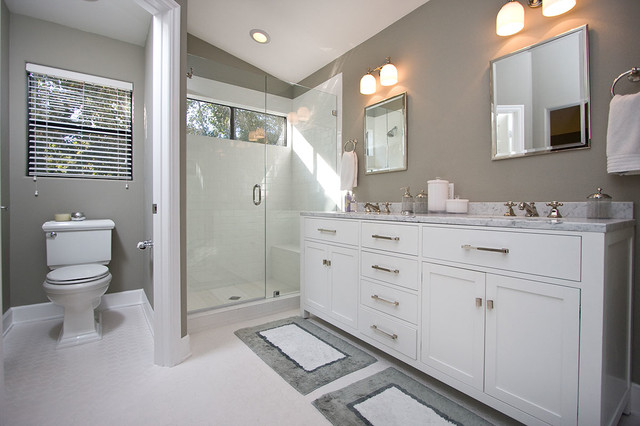 Contemporary Gray White Bathroom Remodel Contemporary