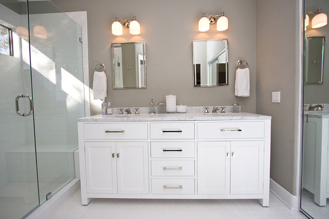 Stupendous Contemporary Gray White Bathroom Remodel Contemporary Largest Home Design Picture Inspirations Pitcheantrous