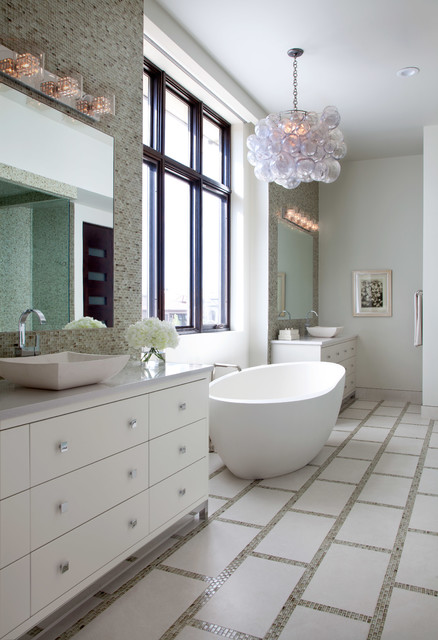 Inspiration for a contemporary freestanding bathtub remodel in Denver with a vessel sink