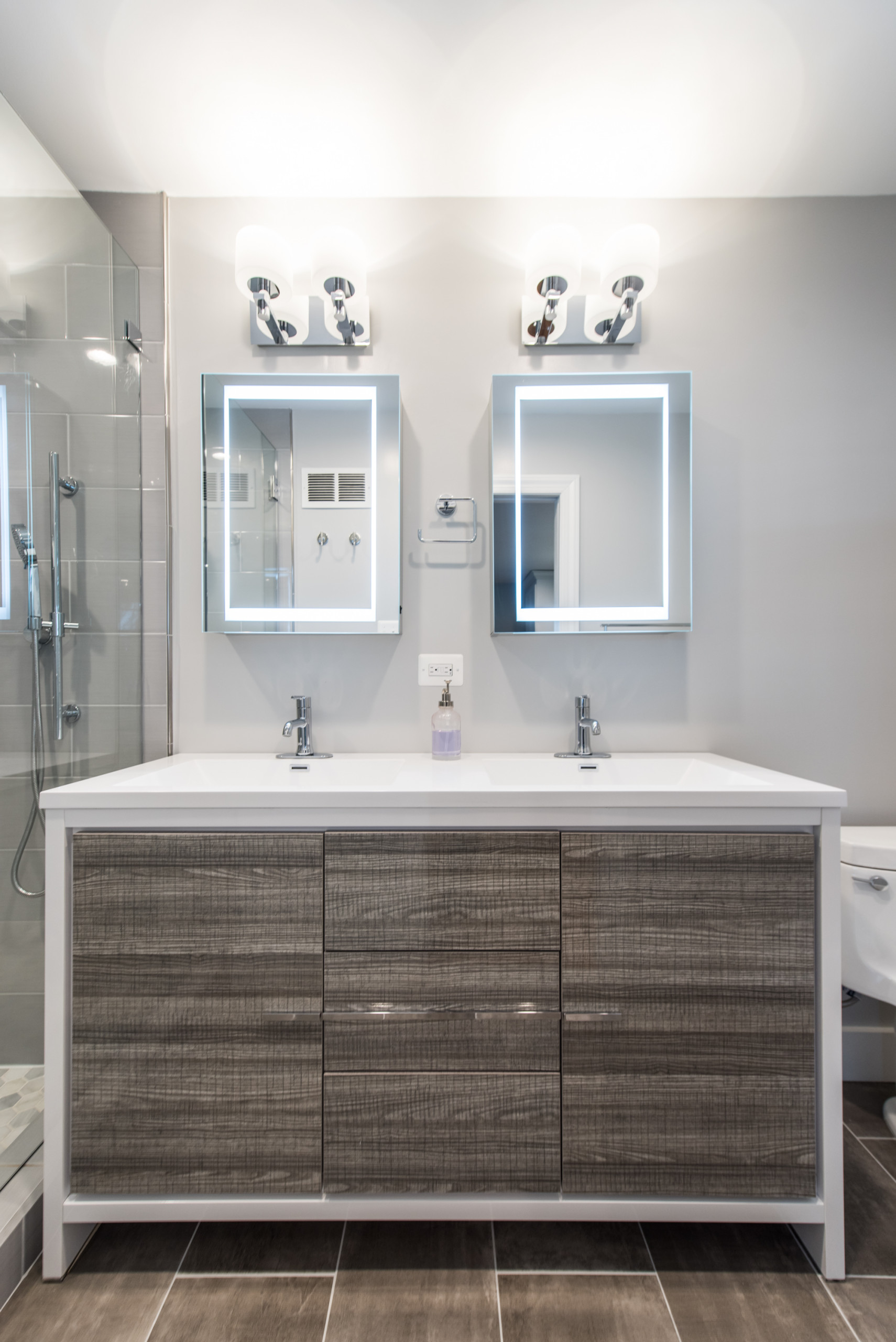 Contemporary Master Bath and Family Room Built-ins