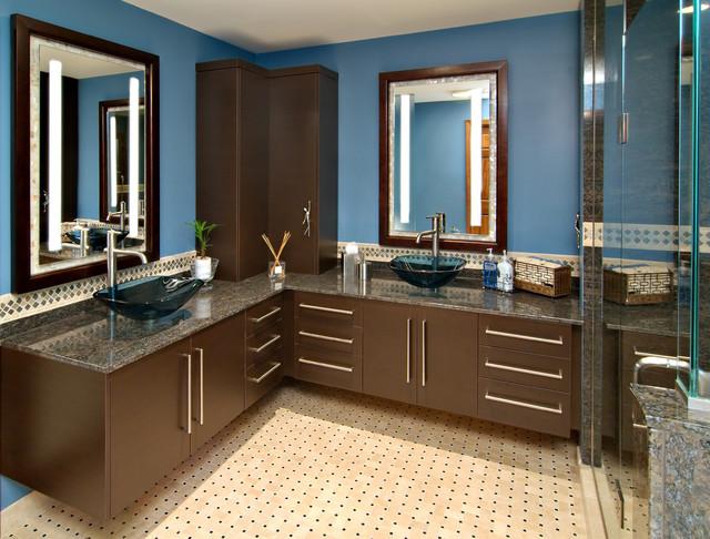 Contemporary Master Bath Blue Oasis