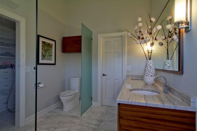 Contemporary Master Bath With Walnut Vanity And Carrara