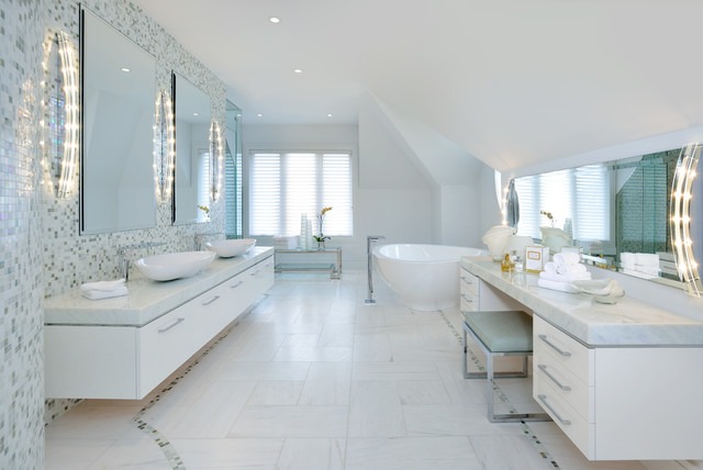 Contemporary master bedroom ensuite bath contemporary for Master bathroom ensuite
