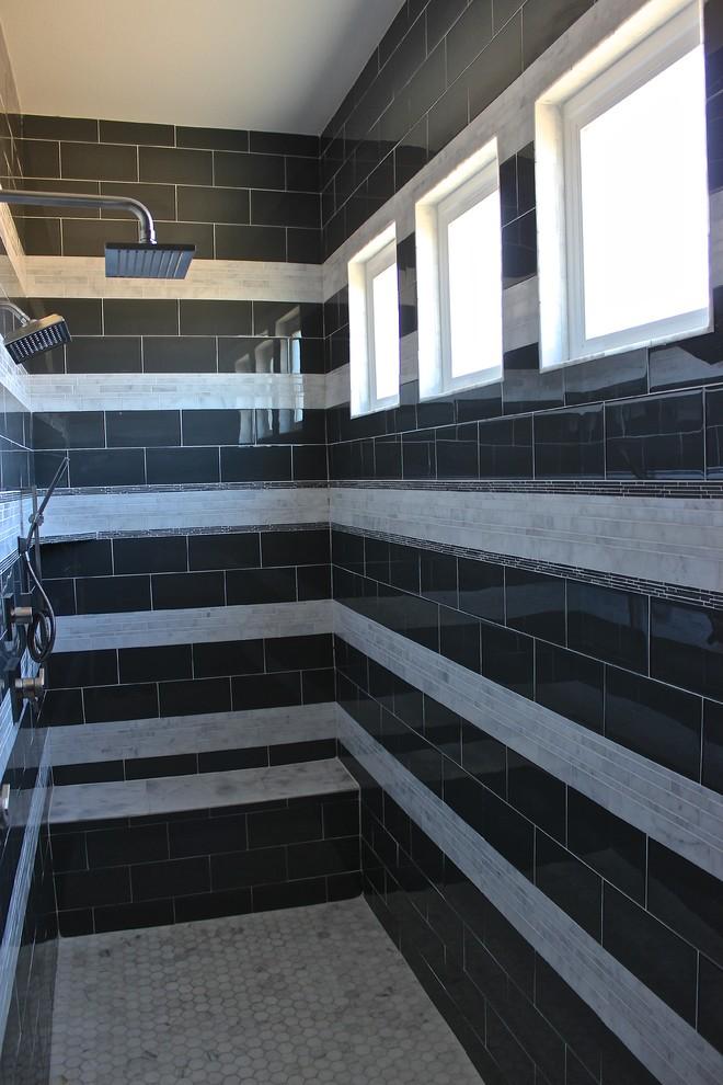 Contemporary Master Shower B&W - Contemporary - Bathroom ...