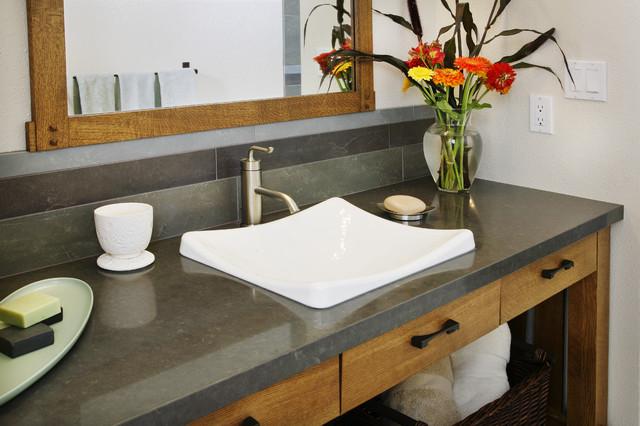 Contemporary mission open console vanity with quartz counter. contemporary-bathroom