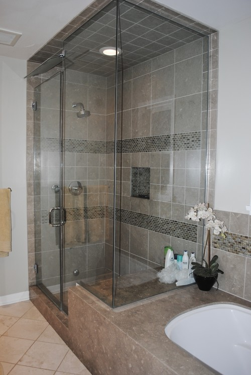 Enclosed Shower attached to tub