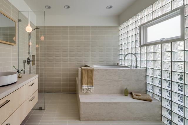 Contemporary refined and elegant bathroom with a glass - Houzz palo alto ca ...