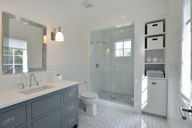 Contemporary Shingle Colonial Transitional Bathroom