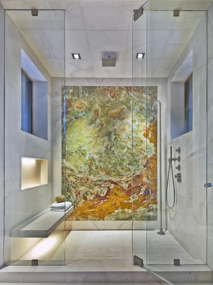 Bathroom - huge contemporary master multicolored tile and marble tile marble floor bathroom idea in Denver with a niche