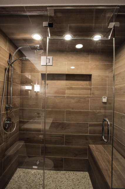 Contemporary Spa Shower with Heated Bench