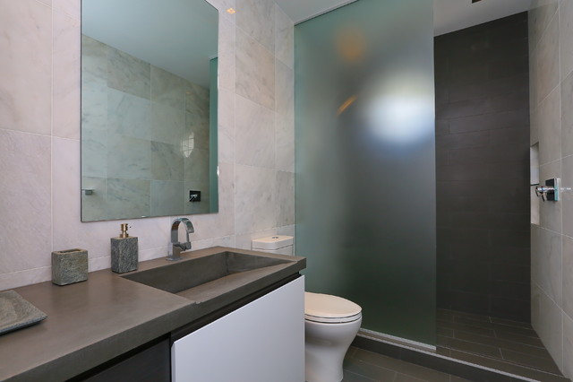 Contemporary Gray Tile Bathroom Idea In Tampa With Flat Panel Cabinets,  Concrete Countertops,